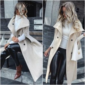 beige button double breast vest trench pea coat